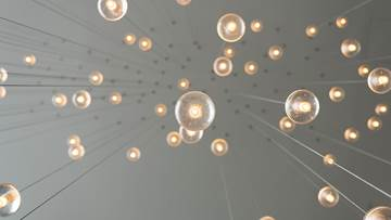 Light bulbs handing from a ceiling