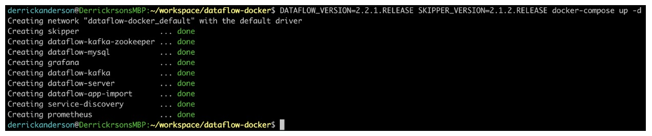 Starting the dataflow service
